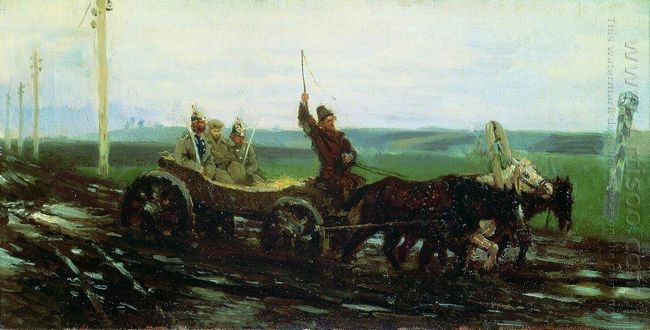 Under Escort On The Muddy Road 1876