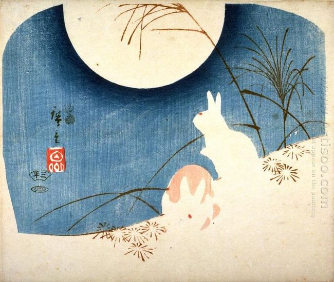 Untitled Two Rabbits Pampas Grass And Full Moon 1851