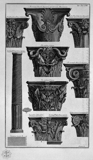 Various Capitals Column Villa Albani St Clement St Cosmas Etc