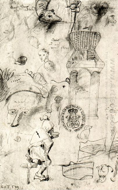 Various Sketches And A Beggar 1516