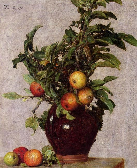Vase With Apples And Foliage 1878