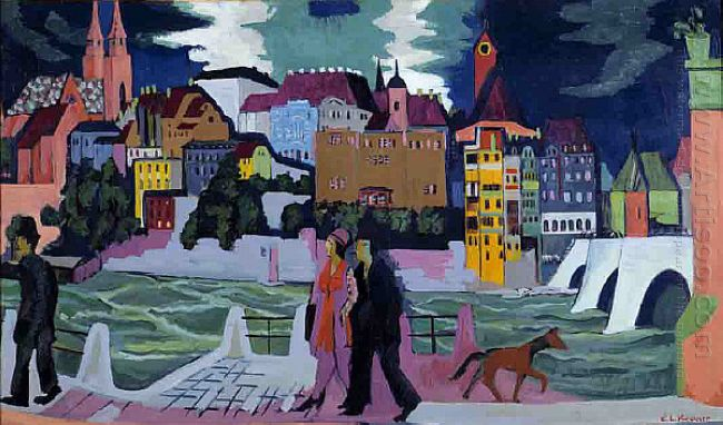 View Of Basel And The Rhine 1928