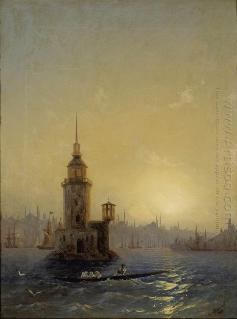 View Of Leandrovsk Tower In Constantinople 1848