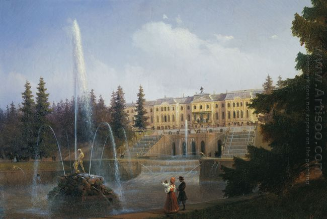 View Of The Big Cascade In Petergof And The Great Palace Of Pete