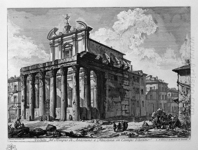 View Of The Temple Of Antoninus And Faustina In The Campo Vaccin