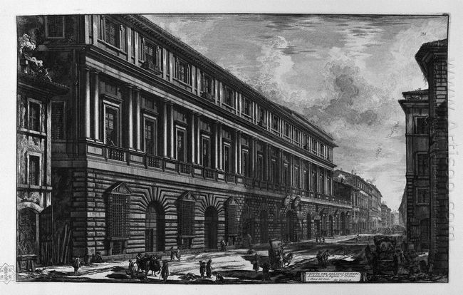 View Of Via Del Corso The Palace Of The Academy Founded By Louis