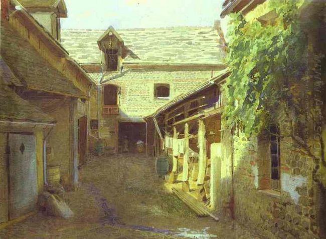 Village Yard In France 1876