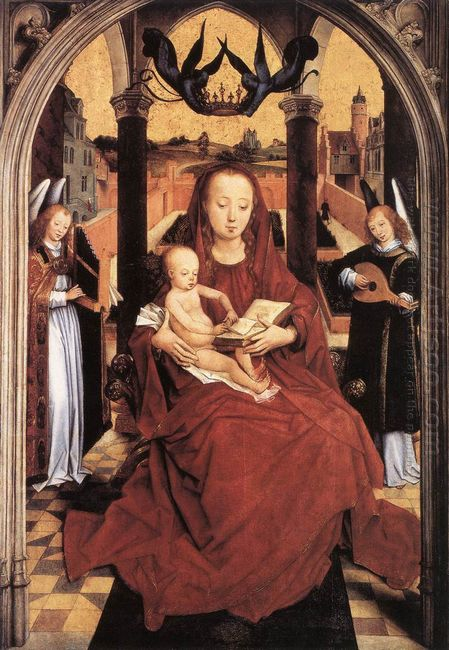 Virgin And Child Enthroned With Two Musical Angels 1467