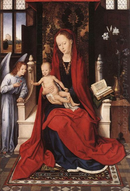 Virgin Enthroned With Child And Angel
