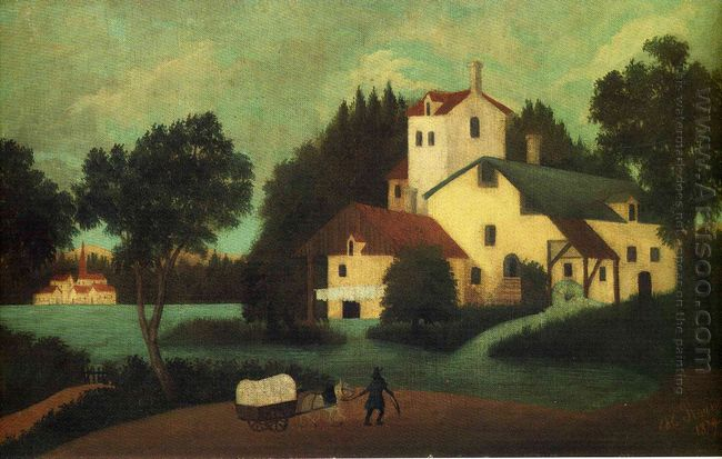 Wagon In Front Of The Mill 1879