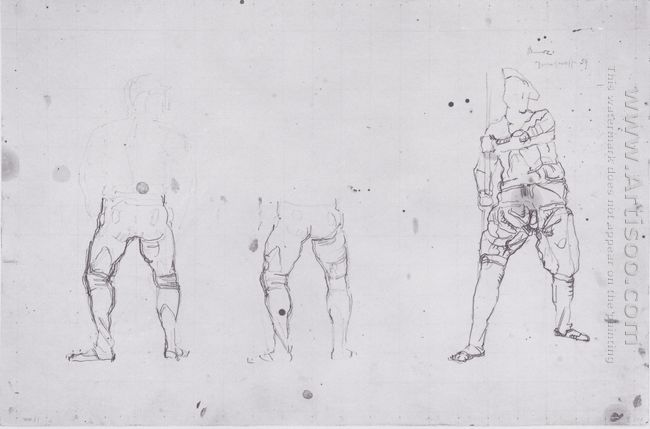 Warrior Figures From The Rear And Front