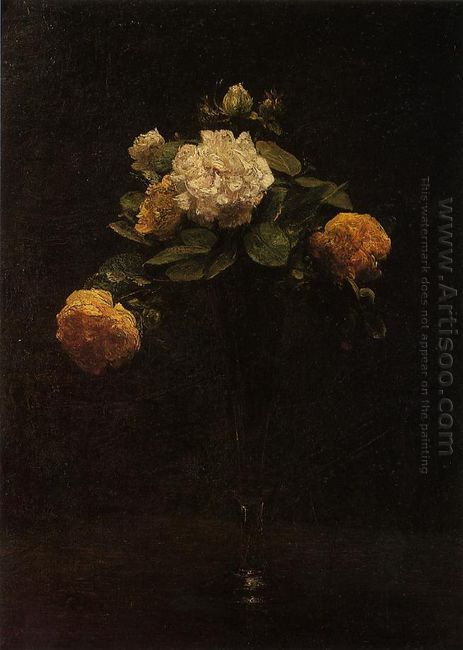 White And Yellow Roses In A Tall Vase 1876