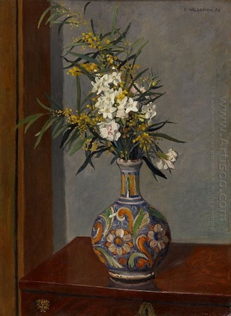 White Flowers In A Vase Decorated 1906