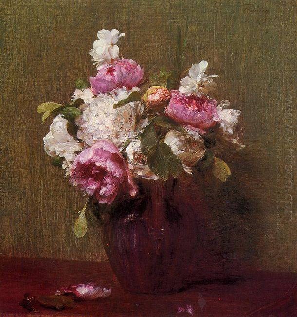 White Peonies And Roses Narcissus 1879