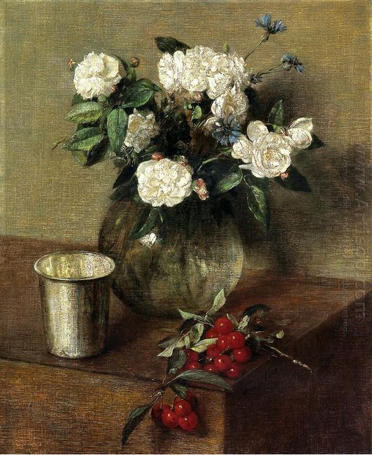 White Roses And Cherries 1865