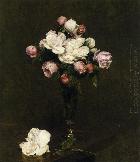 White Roses And Roses In A Footed Glass