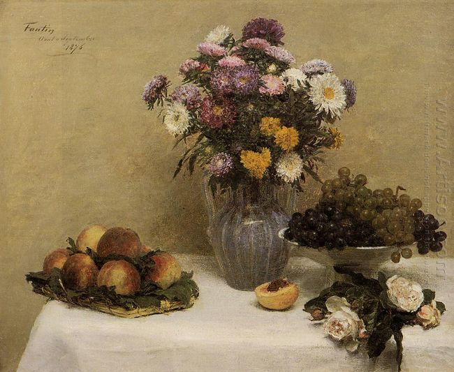 White Roses Chrysanthemums In A Vase Peaches And Grapes On A Tab