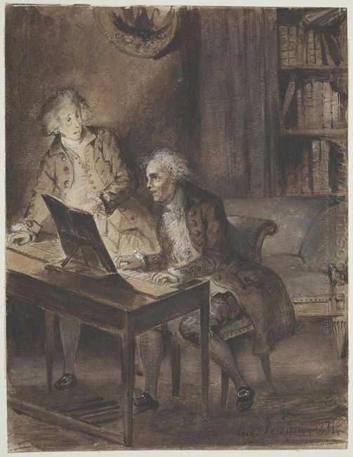 Willibald Von Glueck At The Clavecin Composing The Score Of His