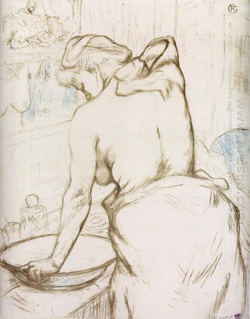 Woman At Her Toilette Them Washing Herself 1896