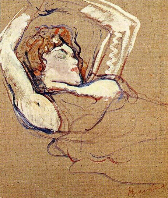 Woman Lying On Her Back Both Arms Raised 1895
