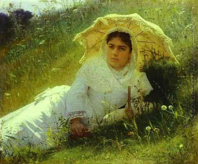 Woman With An Umbrella In The Grass Midday 1883