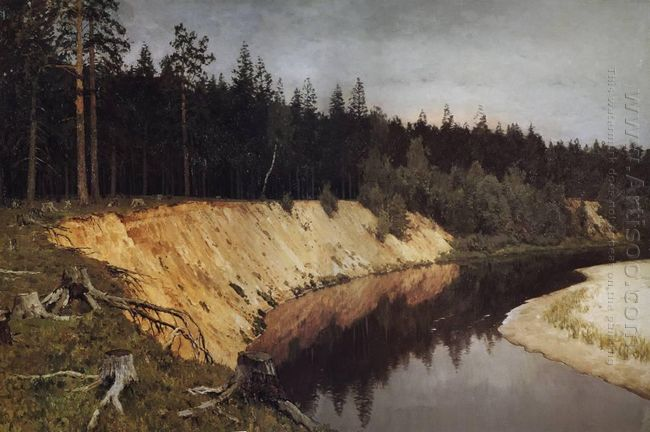 Wooded Riverbank Twilight 1892