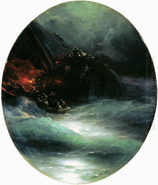 Wreck Of A Merchant Ship In The Open Sea Shipwreck 1883