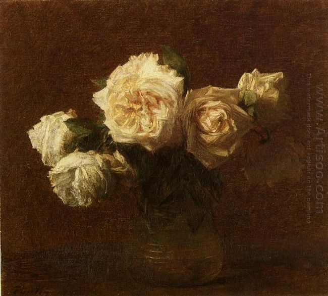 Yellow Pink Roses In A Glass Vase 1903