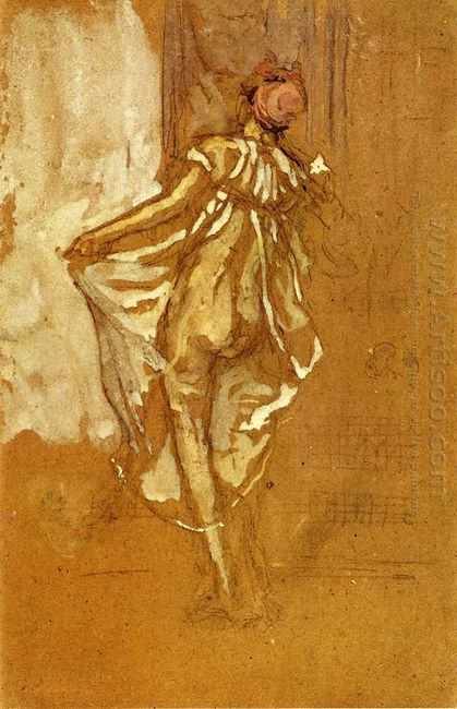 A Dancing Woman In A Pink Robe Seen From The Back 1890