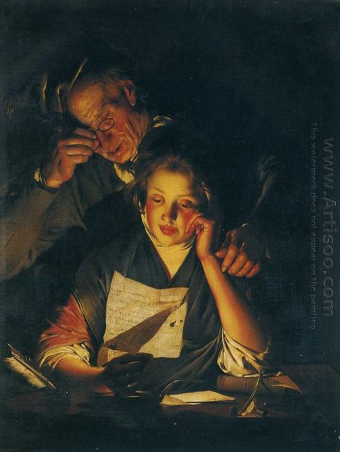 A Girl Reading A Letter With An Old Man Reading Over Her Shoulde