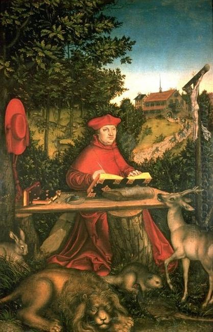 Albrecht Of Brandenburg As St Jerome In His Study 1527