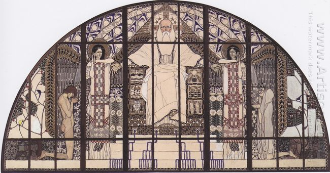 Am Steinhof Church Colored Sketch Of South Window