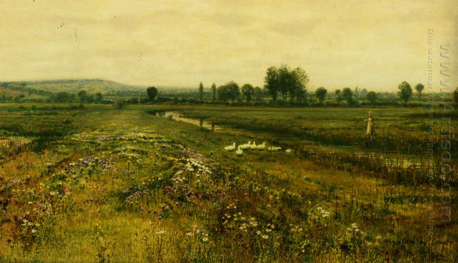 An Extensive Meadow Landscape With Geese By A Stream 1892