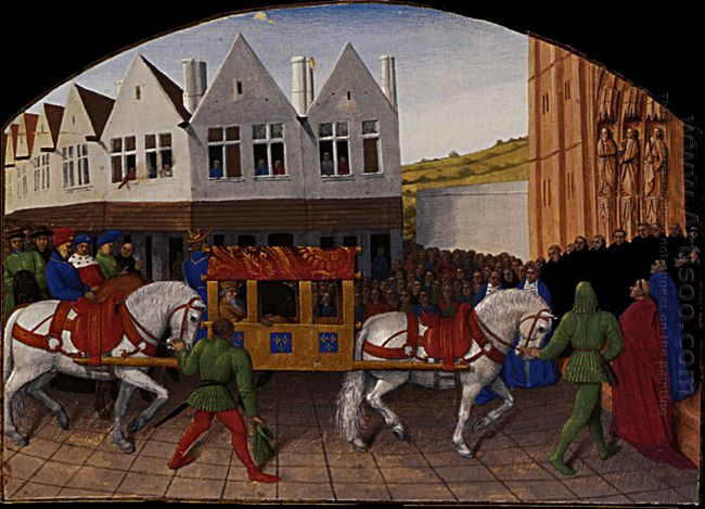 Arrival Of The Emperor Charles Iv In Front Of Saint Denis 1460