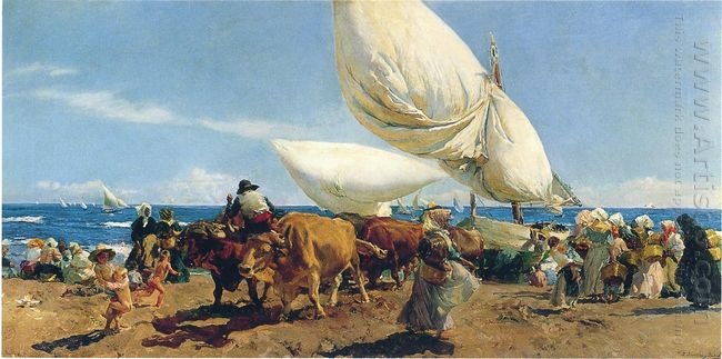 Arrival Of The Fishing Boats On The Beach Valencia 1898