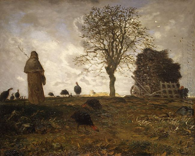 Autumn Landscape With A Flock Of Turkeys