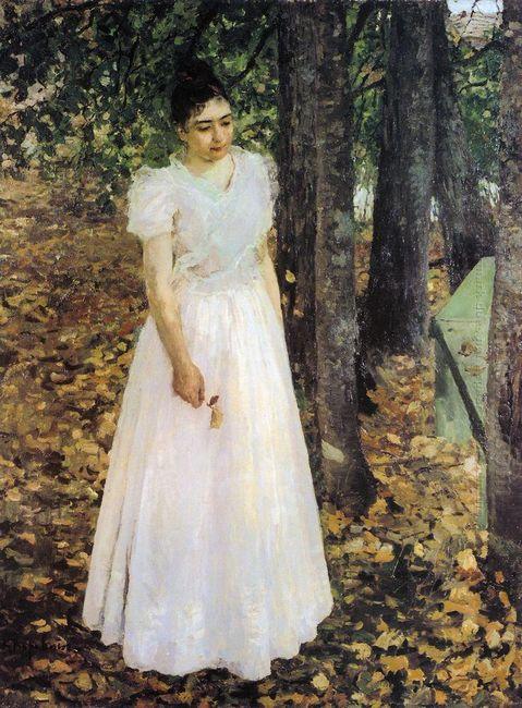 Autumn Young Woman In A Garden 1891