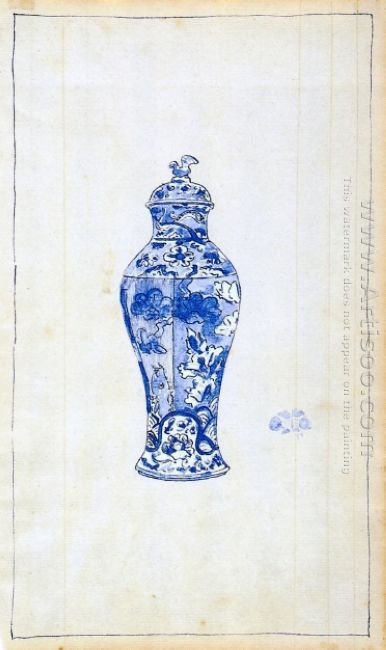 Blue And White Covered Urn