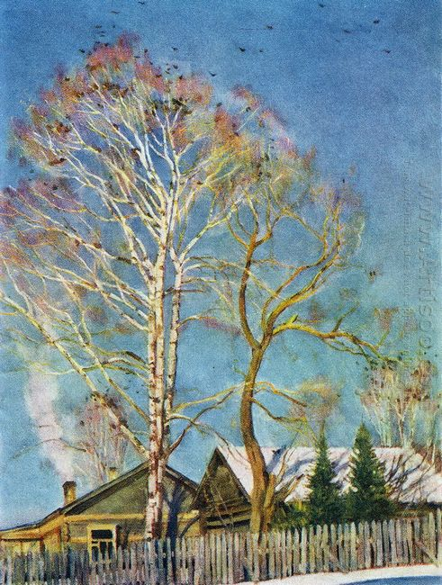 Blue Morning Rooks On The Birches Ligachevo 1930