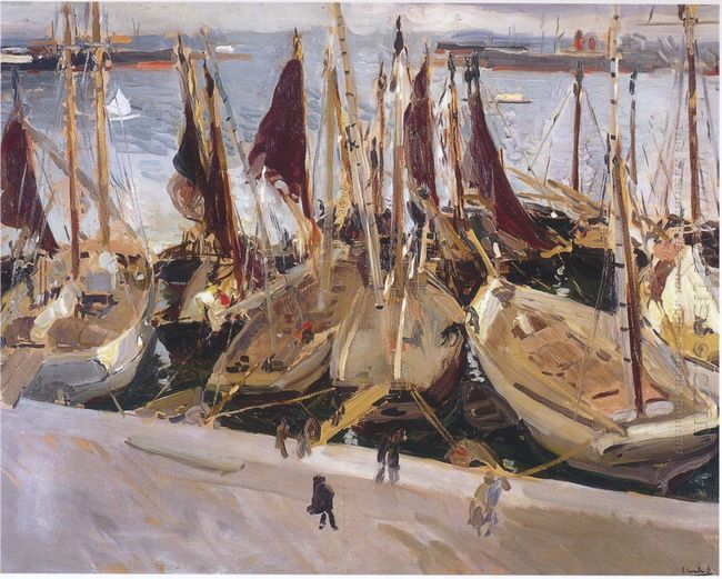 Boats In The Port Valencia 1904