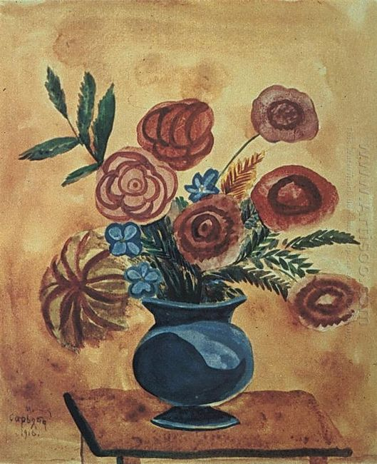 Bouquet In Blue Vase 1916