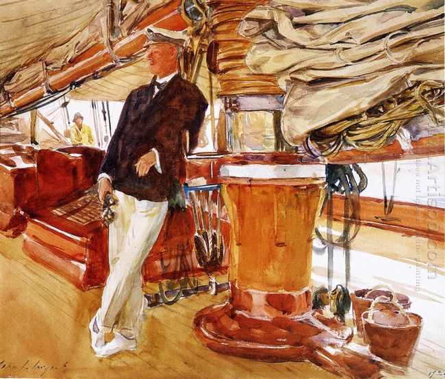 Captain Herbert M Sears On Deck Of The Schooner Yacht Constellat