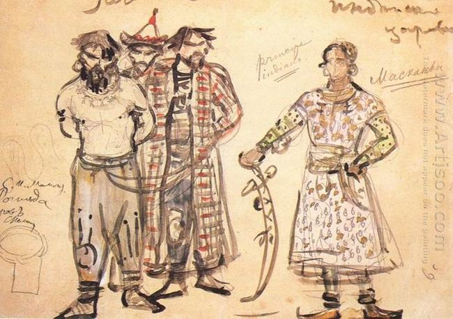 Captured Pechenegs Costume Design For The Opera Rogneda 1896