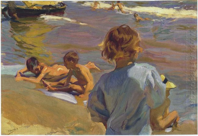 Children On The Beach Valencia 1916