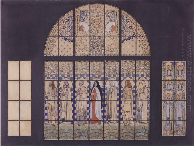 Church Am Steinhof Design For The East Side Windows 1905