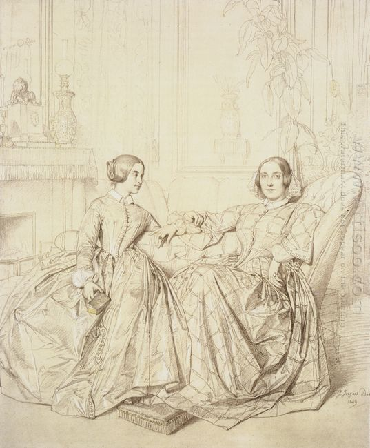Countess Charles D Agoult And Her Daughter Claire D Agoult 1849