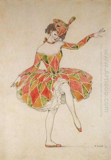 Design Of Costume Of Columbine For Anna Pavlova In Harlequinade
