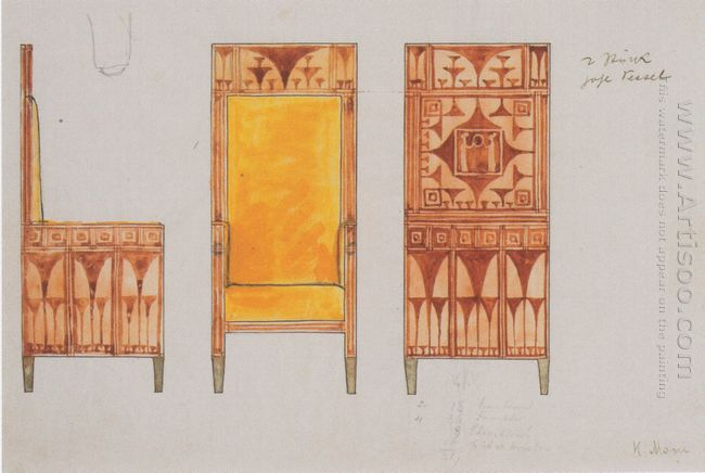 Draft Drawings For The Breakfast Room Of The Apartment Eisler Te