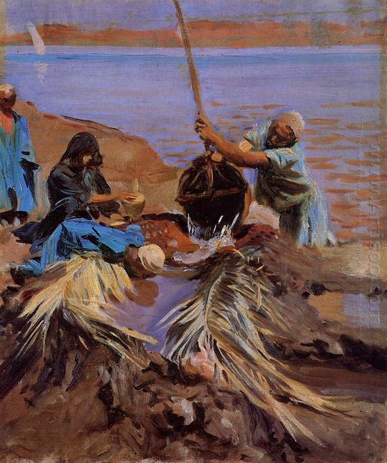 Egyptians Raising Water From The Nile 1891