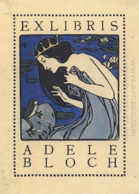 Exlibris Adele Bloch Bookplate With Princess And Frog